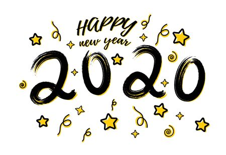 2020 hand written lettering decorated with 3D realistic golden stars isolated on a white background. Design concept for happy new year, christmas holidays. Vector illustration Stock Photo