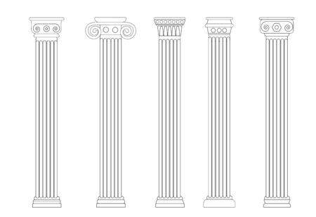 Black linear silhouette of old columns, colonnade. Set of four contours of Rome and Greece antique and columns. Outline vector illustration, isolated, flat style. Stock Photo