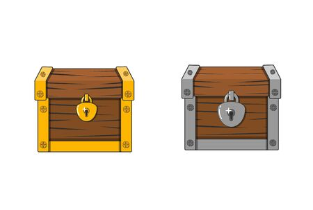 Vector illustration of a chest. Closed antique box. Wooden mysterious casket. flat box icon.