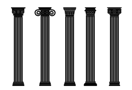Black linear silhouette of old columns, colonnade. Set of four contours of Rome and Greece antique and columns. Outline vector illustration, isolated, flat style. Archivio Fotografico - 132725842