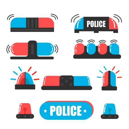 Siren. Police officer flasher or ambulance flasher. Siren police light vector. Light bulbs are blue and red. Stok Fotoğraf