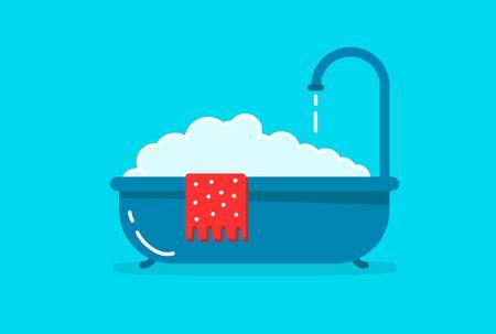 A bathtub with foam inside. Bathing time in flat style vector illustration. Bathroom concept. Cartoon style. Stock Illustratie