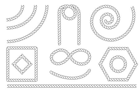 Nautical rope knots and frames set. Template for prints, cards, fabrics, covers, flyers, banners. Vintage decorative elements.  イラスト・ベクター素材