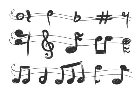 Musical notes. Waves vector icons background banner symbols. Music art sound isolated background, vector illustration.