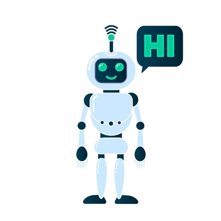 Robot innovation technology science science fiction design 3d vector illustration. Smiling chatbot helping solve problems. greeting is moving. vector illustration. Stok Fotoğraf