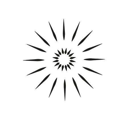 Black rays of hand-drawn starburst, sun rays, fireworks, water explosion, sparkling. doodle design element. Vector illustration Vintage Sunburst Explosion.