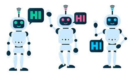 Robot innovation technology science science fiction design 3d vector illustration. Smiling chatbot helping solve problems. greeting is moving. vector illustration. Stock Photo