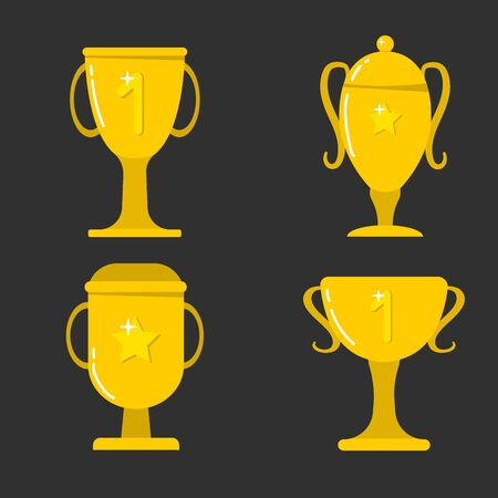 Gold cups for winners and other sports trophies. Gold award and trophy for the championship. Vector illustration. Flat style. Banque d'images - 132028997
