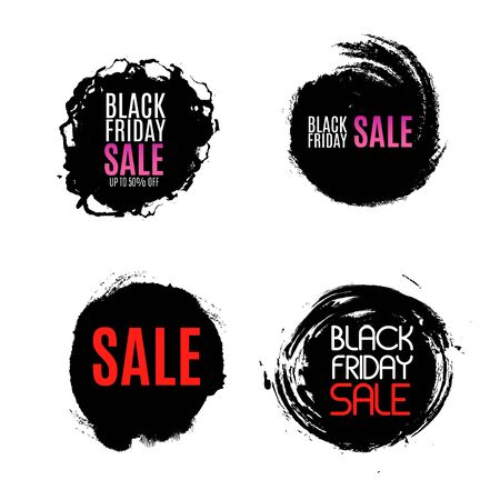 Black Friday Sale Abstract Background. Vector Banner. Poster or banner with open gift wrap paper and shopping icons concept.Vector illustration EPS10