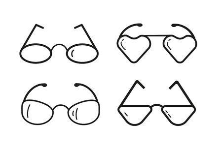 A set of glasses isolated. Vector glasses model icons. Black silhouettes isolated on white. Different shapes, frame, styles. Stok Fotoğraf