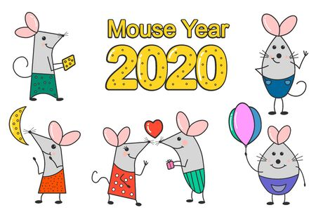 Funny mouse the symbol of 2020. Banner for your design. Hand-drawn funny mouse celebration characters isolated on a white background. For collection of stickers, greeting cards. Фото со стока