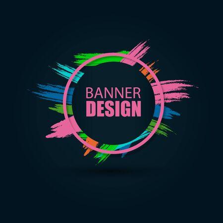 Banner de vector sobre fondo negro. Hermoso fondo colorido para texto y gráficos. Elemento de diseño para tarjetas de visita, volantes y folletos.