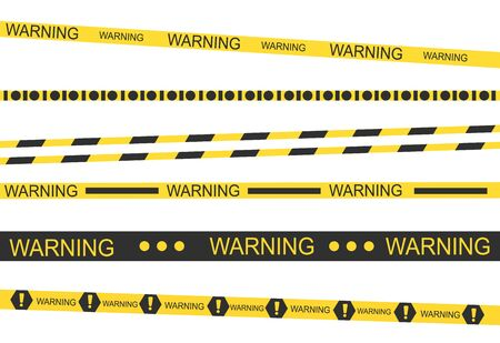Black and yellow stripes. Barricade tape, Do not cross, police, crime danger line, bright yellow official crime scene barrier tape. Vector flat style Stock Photo
