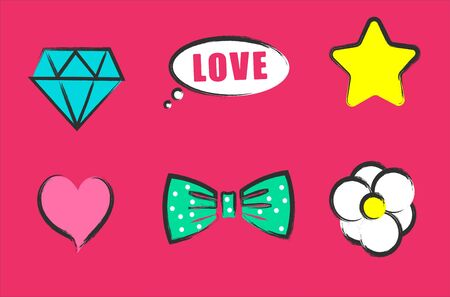 Diamond star bow. Cute banners lol doll style vector patterns. Ilustração