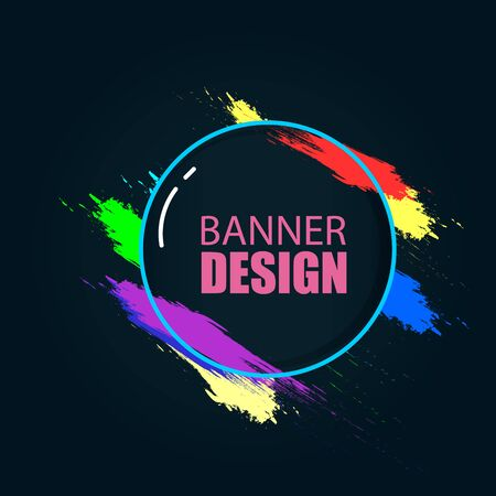 Vector banner on a black background. Beautiful colorful background for text and graphics. Design element for business cards,flyers and brochures. Archivio Fotografico - 132359357