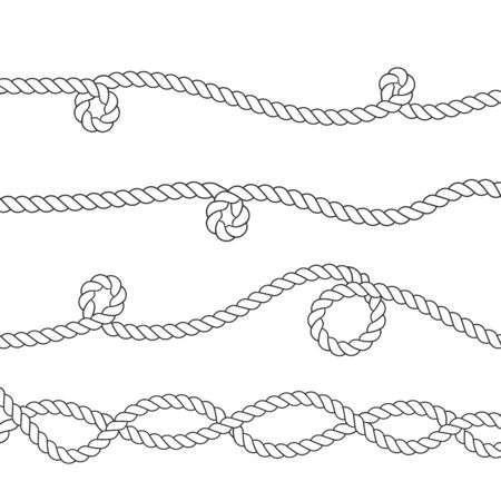 Nautical rope knots and frames set. Template for prints, cards, fabrics, covers, flyers, banners. Vintage decorative elements. 일러스트