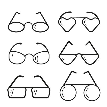 A set of glasses isolated. Vector glasses model icons. Black silhouettes isolated on white. Different shapes, frame, styles. Фото со стока