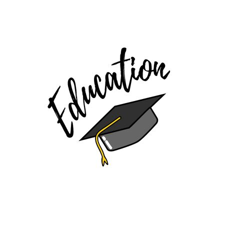 Graduate caps and confetti on a white background. Caps tossed up. vector illustration