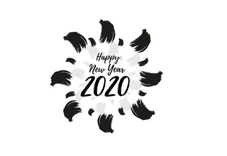 Happy 2020 New Year Greeting Card. Holiday vector illustration with lettering composition with splash typographic emblems set.