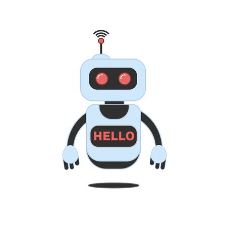 Robot innovation technology science science fiction design 3d vector illustration. Smiling chatbot helping solve problems. greeting is moving.