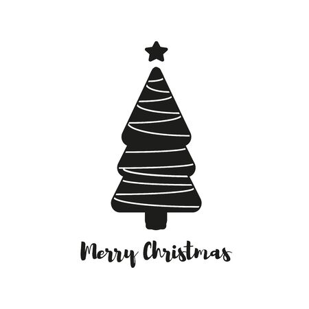 Christmas tree, modern flat design. Can be used for greeting card, invitation, banner, web design. Banco de Imagens
