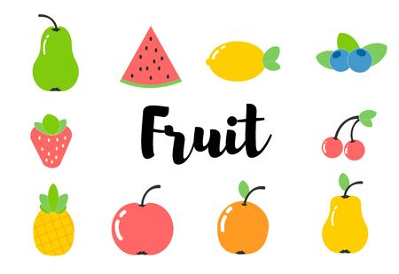 Beautiful fruits and vegetables. flat style.