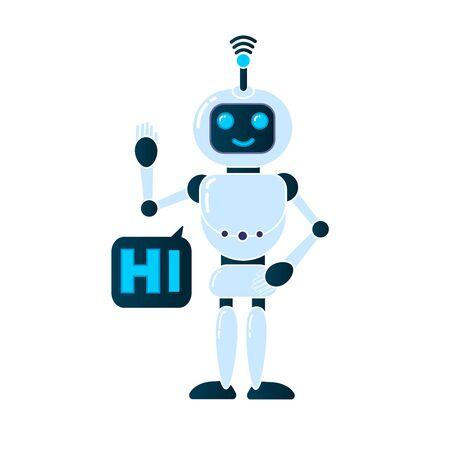 Robot innovation technology science science fiction design 3d vector illustration. Smiling chatbot helping solve problems. greeting is moving. vector illustration. Banco de Imagens
