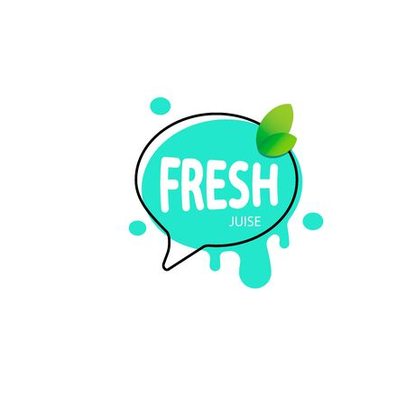 Fresh fruit label icon. Orange, lemon, berry, peach healthy juice sticker design. Vector collection of bright and shining stickers of berry and orange juice
