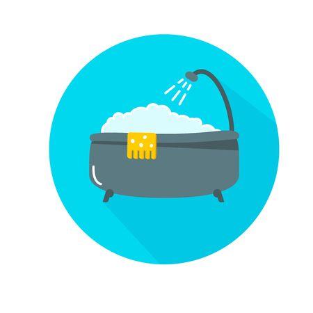 A bathtub with foam inside. Bathing time in flat style vector illustration. Bathroom concept. Cartoon style. Ilustração