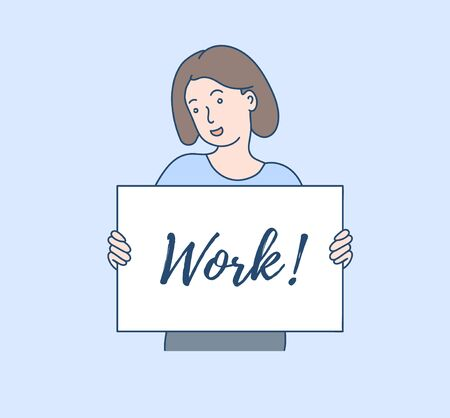 Work flat vector illustration. Looking for a job. Company invitation concept. Woman as in a cartoon.