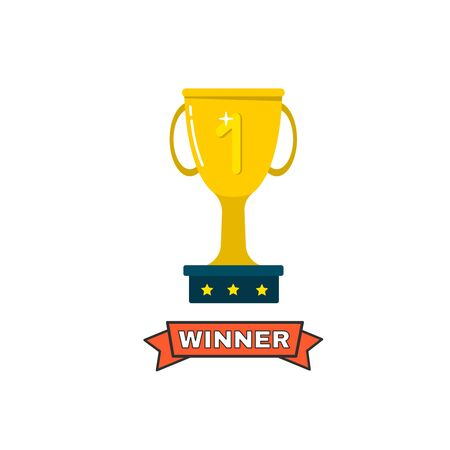 Gold cups for winners and other sports trophies. Gold award and trophy for the championship. Vector illustration. Flat style.