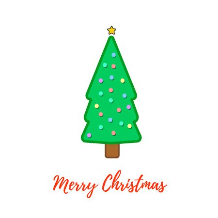 Christmas tree, modern flat design. Can be used for greeting card, invitation, banner, web design. Stock fotó