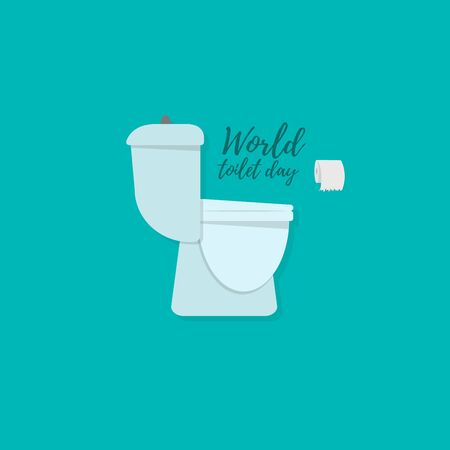 Flat cartoon toilet bowl icon. The concept of the bathroom. Vector illustration for world toilet day.