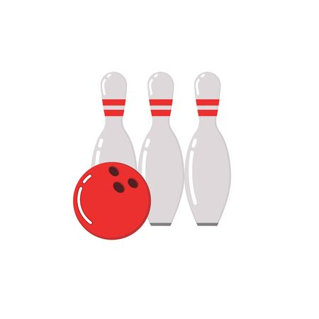 Bowling ball and skittles. Flat illustration of bowling vector icon. Ball game concept. Stock Illustratie