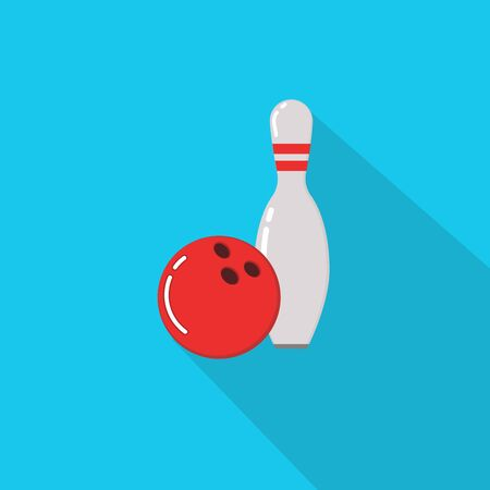 Bowling ball and skittles. Flat illustration of bowling vector icon. Ball game concept. Ilustração