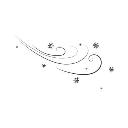 Snow and wind and flying snowflakes. Image of a windy winter. Flat design style. Simple icon Modern flat icon in black colors. vector illustration.