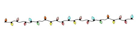 Christmas holiday garland lights in flat style vector set. Colored garland balls.