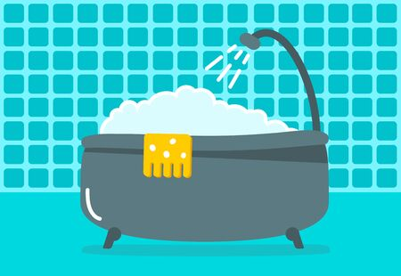 A Bathtub With Foam Inside. Bathing Time In Flat Style Vector ...