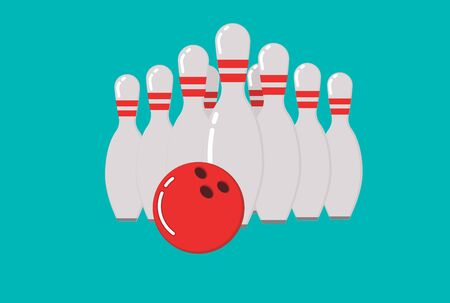 Bowling ball and skittles. Flat illustration of bowling vector icon. Ball game concept. Ilustracja