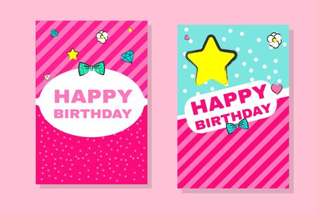Fashionable girls birthday invitation. Vector hand drawn illustration. Cute banners lol doll style vector patterns.