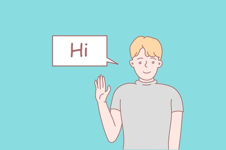 Greeting flat vector illustration. Hey. Communication concept. Set of different poses of male and female character. Vector illustration in cartoon style. Vector