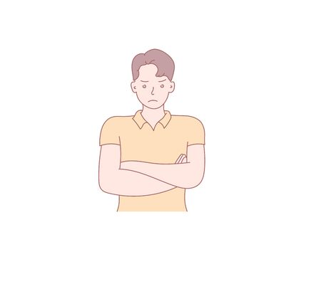 The guy thought and reasoned. Hand drawn style vector design illustration. Vector design style for website, brochure, newspaper.