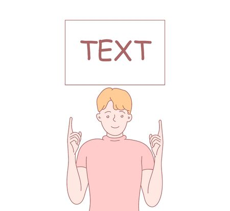 Man holds a tablet with text. Shows on a board, plate, inscription, banner. Hand drawn illustration. Vector style for design and website, brochure, newspaper. Illustration