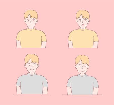 Boy face emotions set. Set of different emotions male character. Handsome emoji with different facial expressions. Vector illustration in cartoon style. Child's face. Illustration