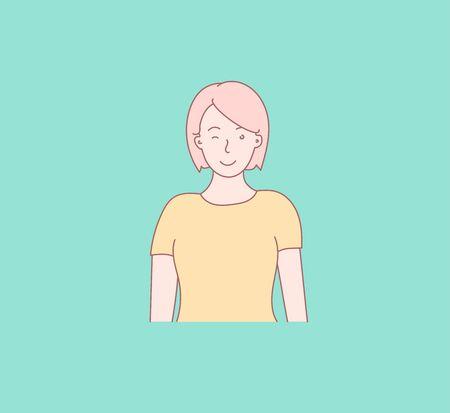 Expression of good human emotions. Hand drawn style vector design illustration. Vector design style for website, brochure, newspaper. Çizim