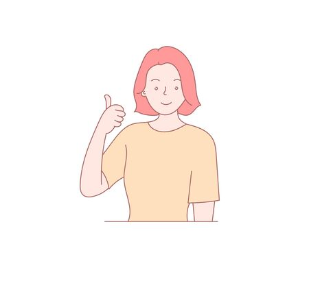 Man makes positive gestures. Hand drawn style vector design illustration. Beautiful freehand drawing of a man. Ilustrace
