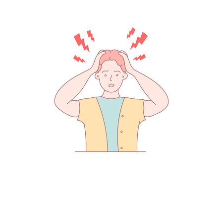 A headache in a person. Hand drawn style vector design illustration. Vector design style for website, brochure, newspaper.