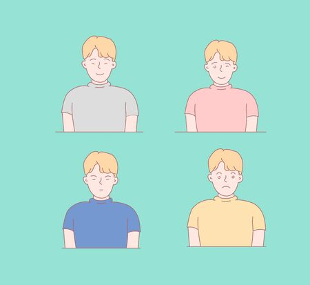 Boy face emotions set. Set of different emotions male character. Handsome emoji with different facial expressions. Vector illustration in cartoon style. Childs face.