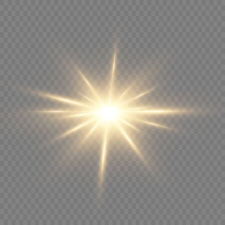 Set of bright Star. Yellow glowing light explodes on a transparent background. Transparent shining sun, bright flash. To center a bright flash. Sparkling magical dust particles. Vector sparkles. 向量圖像
