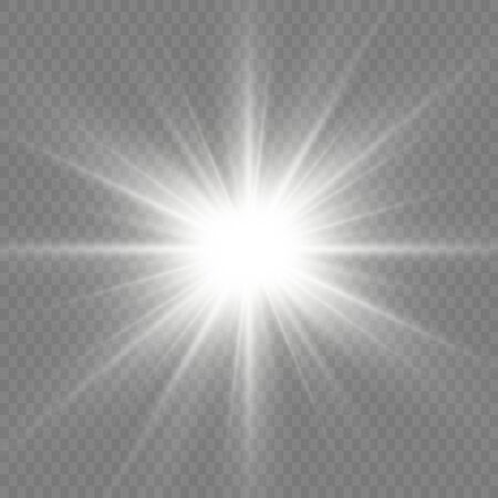 Bright Star. Transparent shining sun, bright flash. White glowing light explodes on a transparent background. Sparkling magical dust particles. Vector illustration. EPS 10.